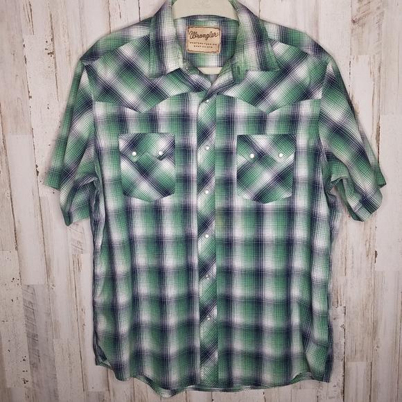 Wrangler Other - Wrangler Vintage Pearl Snap Plaid Western Shirt
